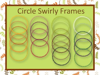 20 Fall colored Circle Swirly Frames