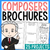 20 Famous Composers Brochure Projects, Mini Book, Foldables, Music History