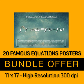 20 Famous Mathematics Equations Posters - Bundle Offer