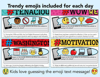 20 February Reading Passages - Google Classroom Activities & Pdf / Emojis