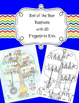 20 Fingerprint Kids End of the Year and Autograph Memory Page