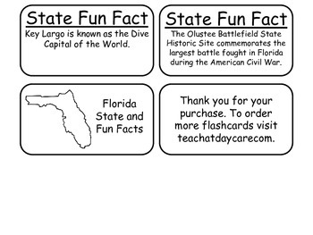 20 Florida State Fact Flashcards. 1st Grade-7th Grade