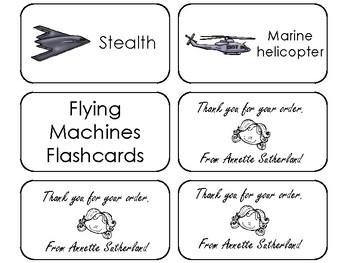 20 Flying Machines Printable Flashcards. Preschool-3rd Grade