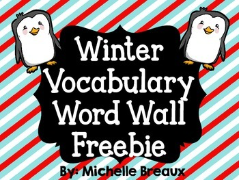 20 Free Winter Vocabulary Word Wall Cards