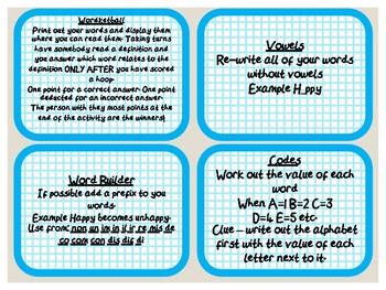20 Fun Spelling Task Cards