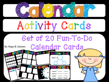 20 Fun-To-Do Calendar Activity Cards for daily practice of numbers