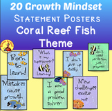 20 GROWTH MINDSET INSPIRATIONAL POSTERS, CARDS TROPICAL CORAL REEF THEME
