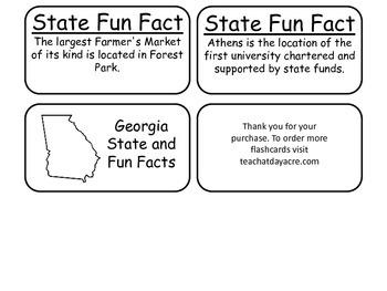 20 Georgia State Fact Flashcards. 1st Grade-7th Grade