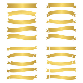 20 Gold Banners Clipart, Gold Wedding Clipart, Ribbon Divider, Party Banners