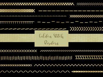 """20 Golden Stitch Borders, 12"""" Wide Separate PNG Files, Printable Files."""