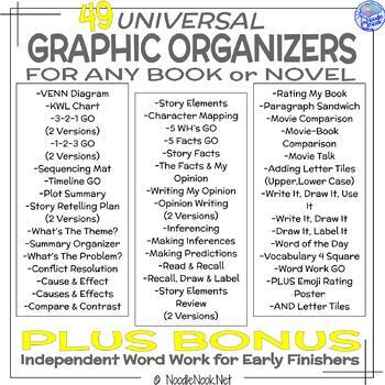 20 Graphic Organizers for Any Book- PLUS Word Work Bonus!