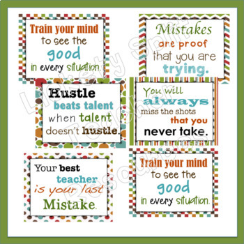20 Growth Mindset Inspirational Quote Posters - Camp Colors Green Orange Brown