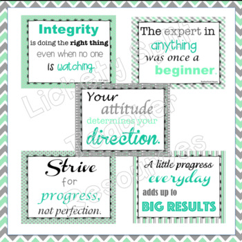 20 Growth Mindset Inspirational Quote Posters in Mint Green, Light Teal and Gray