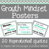 20 Growth Mindset Inspirational Quote Posters in Mint Gree