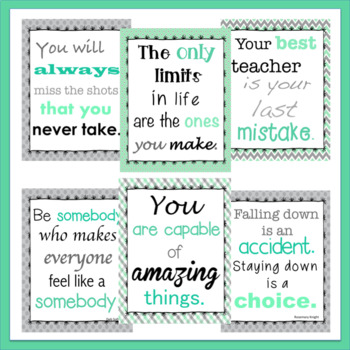 20 Portrait Growth Mindset Inspirational Quote Posters Mint Green Teal & Gray