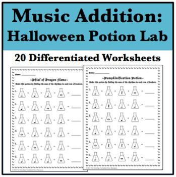 20 Halloween Music Addition Worksheets - Potion Laboratory Edition