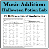 20 Halloween Music Addition Worksheets - Potion Laboratory