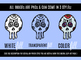 20 Hand-drawn Sugar Skull Clip-art w/ Transparent Fill