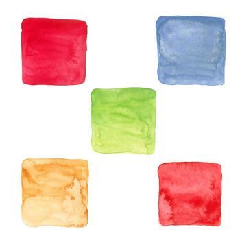 20 Hand-painted Watercolor Squares, Watercolor Colorful Squares, Watercolor Logo