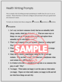 30 Health Class Writing Prompts & Discussion Questions Grades 5-10