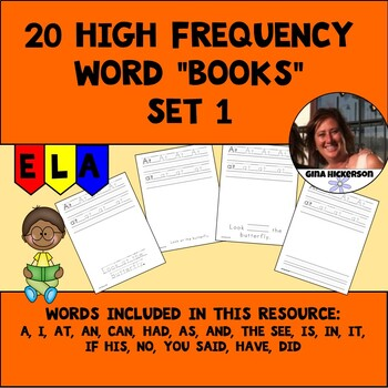 """20 High Frequency Word """"Books"""" - Set 1"""