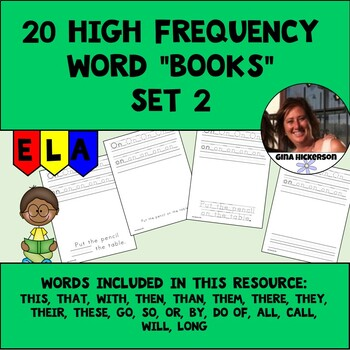 "20 High Frequency Word ""Books"" - Set 2"
