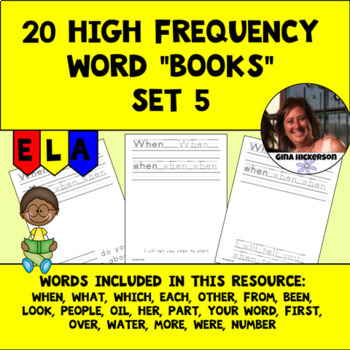 """20 High Frequency Word """"Books"""" - Set 5"""