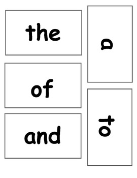 20 High-Frequency Word Cards (English)