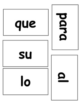 20 High-Frequency Word Cards (Spanish)