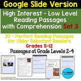20 High Interest: Low Level Reading & Comp Passages Set 3