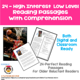 20 High Interest - Low Level Reading and Comprehension Pas
