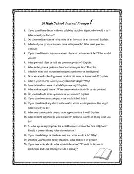 20 High School Journal Prompts