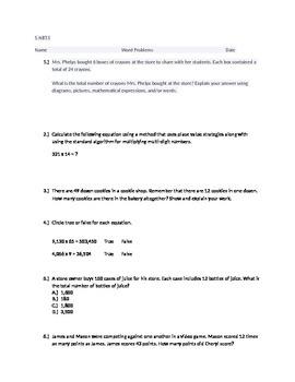 20 Higher Thinking Multiplication Word Problems 5.NBT.5 Assessment Activity
