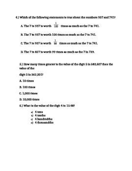 20 Higher Thinking Place Value in Multi Digit Number Problems 5.NBT.1 Assessment