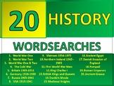 20 History Wordsearch Starter Activities Cover Homework Plenary Settler