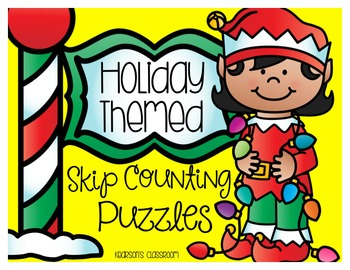 20 Holiday Themed Skip Counting Puzzles for Math Centers