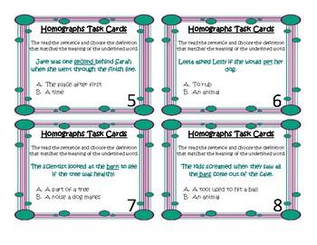 20 Homograph Task Cards