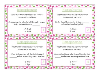20 Homophone Task Cards