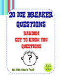 20 Ice Breaker Questions - ELA Writing Activity