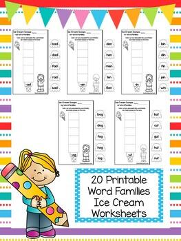 20 Ice Cream Word Families Worksheets. Preschool and Kindergarten Word Families.