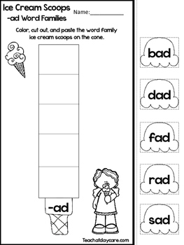 20 Ice Cream Word Families Worksheets. Preschool and Kindergarten Word  Families.