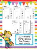 20 Ice Cream Word Families Worksheets. Preschool and Kinde