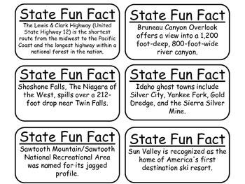 20 Idaho State Fact Flashcards. 1st Grade-7th Grade