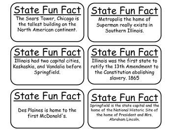 20 Illinois State Fact Flashcards. 1st Grade-7th Grade