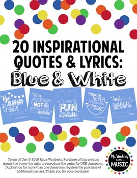 20 Inspirational Classroom Posters: Blue & White