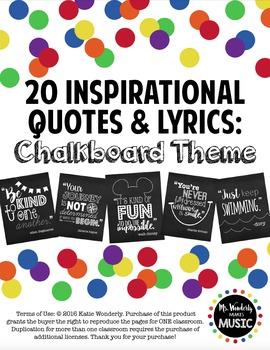 20 Inspirational Classroom Posters: Chalkboard Theme
