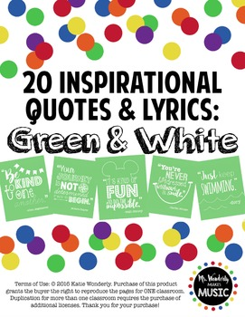 20 Inspirational Classroom Posters: Green & White