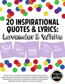 20 Inspirational Classroom Posters: Lavender & White