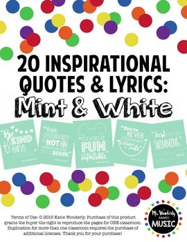20 Inspirational Classroom Posters: Mint & White