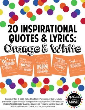 20 Inspirational Classroom Posters: Orange & White